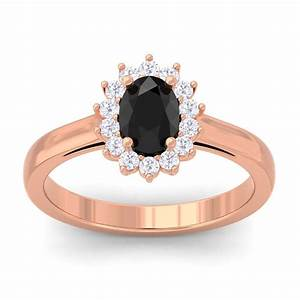 100 natural black onyx oval round diamond engagement ring With onyx wedding ring women