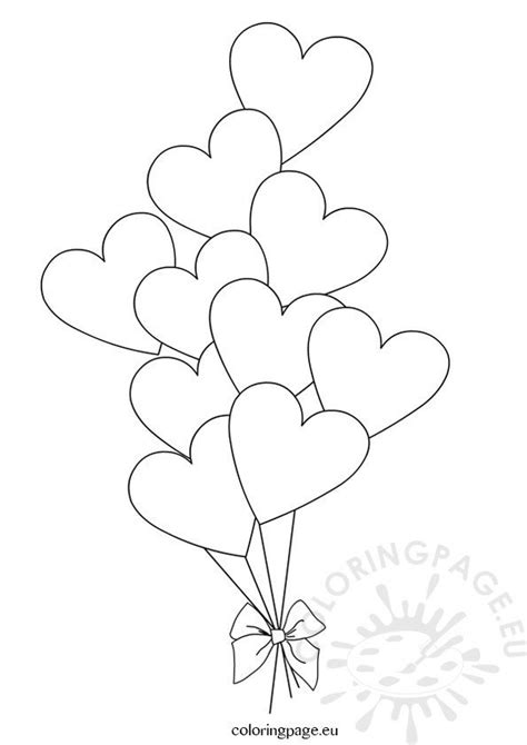 heart balloons template coloring page
