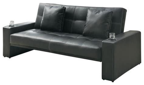 black leather  fabric arm sofa bed futon sleeper