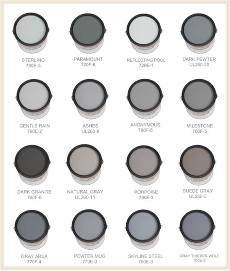 behr gray color chart colorfully behr behr s 50 shades