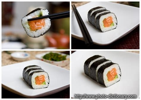 salmon sushi photopicture definition  photo dictionary salmon sushi word  phrase