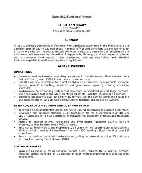 9+ Functional Resume Samples  Pdf, Doc  Sample Templates