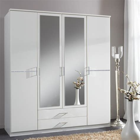 White Mirrored Wardrobe by Florence Mirrored Wardrobe In White With Diamant 233 And 4