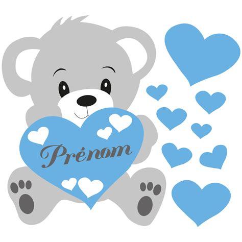 stickers chambre bébé ourson sticker prénom personnalisé ourson bleu stickers chambre