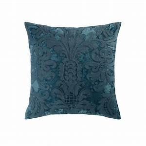 Coussin Velours Bleu : coussin en velours et laine brod bleu 45 x 45 cm peruge maisons du monde ~ Teatrodelosmanantiales.com Idées de Décoration
