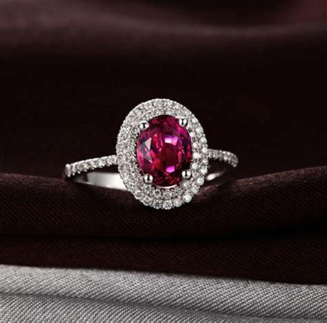carat pink sapphire  diamond double halo classic engagement ring  women jeenjewels