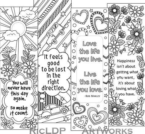 free adult coloring bookmarks printable colouring bookmarks with quotes coloring bookmark