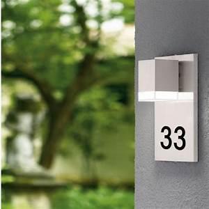 Hausnummer Mit Beleuchtung : led au enwandleuchte mit hausnummer in edelstahl wohnlicht ~ Eleganceandgraceweddings.com Haus und Dekorationen