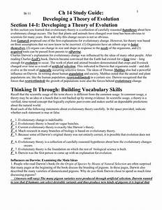 Ch 14 Study Guide  Developing A Theroy Of Evolution