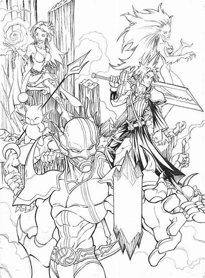 Fantasy Final Coloring Pages Deviantart Heroes Female