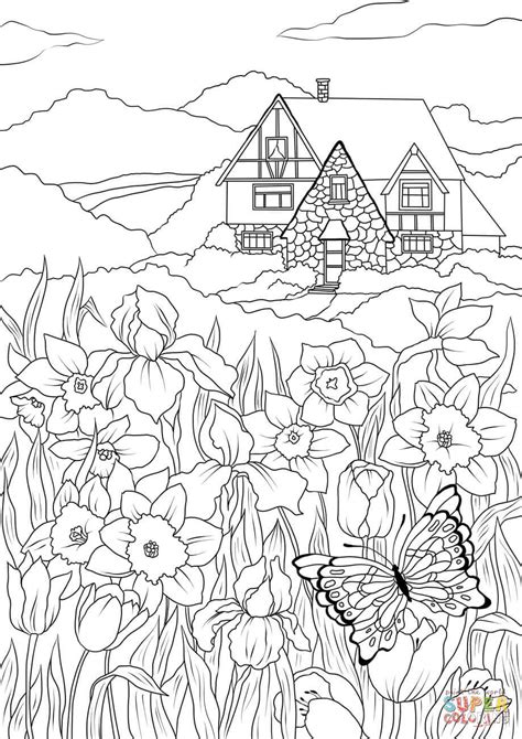 spring flowers butterfly  country house coloring page  printable coloring pages