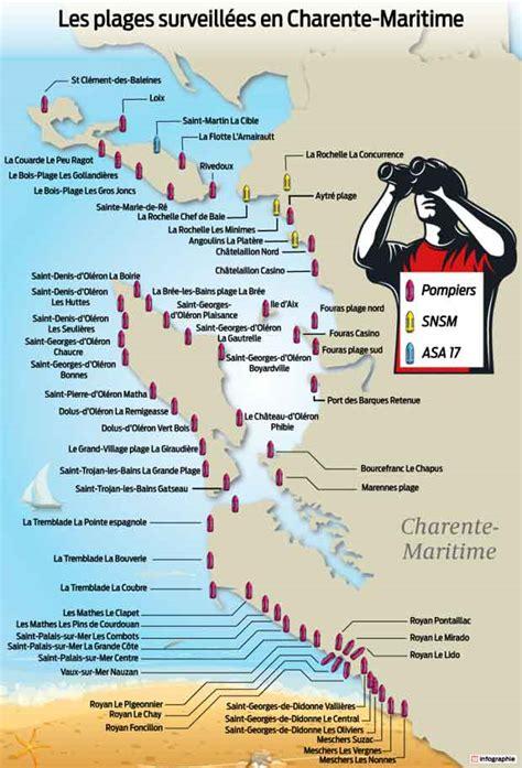Carte Des Plages De by Bernezac Les Plages Surveill 233 Es En Charente Maritime