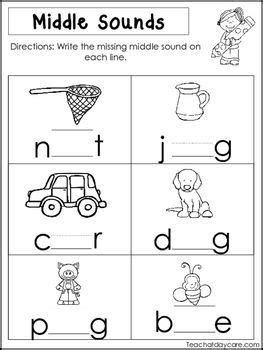 middle sounds worksheets preschool  kindergarten