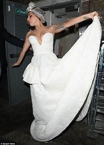 lady gaga sports very revealing wedding dress to party With revealing wedding dress