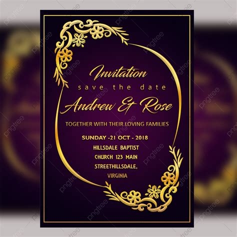 Purple Wedding Invitation Card Template Psd File With