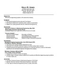 Resume Format For Engineering Students For Internship by Mechanical Engineering Resume Template 5 Free Word Pdf