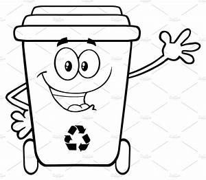 Black And White Happy Recycle Bin ~ Illustrations ~ Creative Market