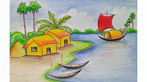 Village Boat Drawing by How To Draw A Village Scenery Step By Step Very Easy