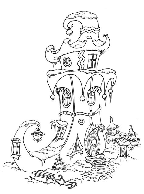 elf house color page christmas coloring pages coloring pages coloring books