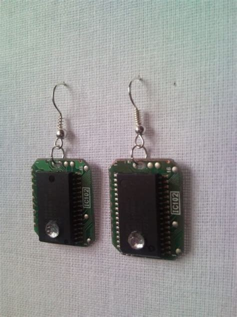 Microchip Pcb Geekery Circuit Recycled Earrings With Strass