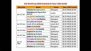 Icc World Cup 2018 Schedule  U0026 Time Table  U19