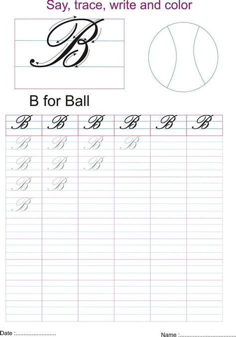 cursive captial letter b worksheet