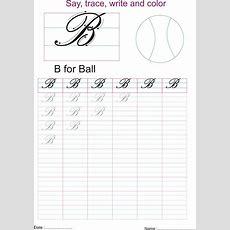 Cursive Captial Letter 'b' Worksheet