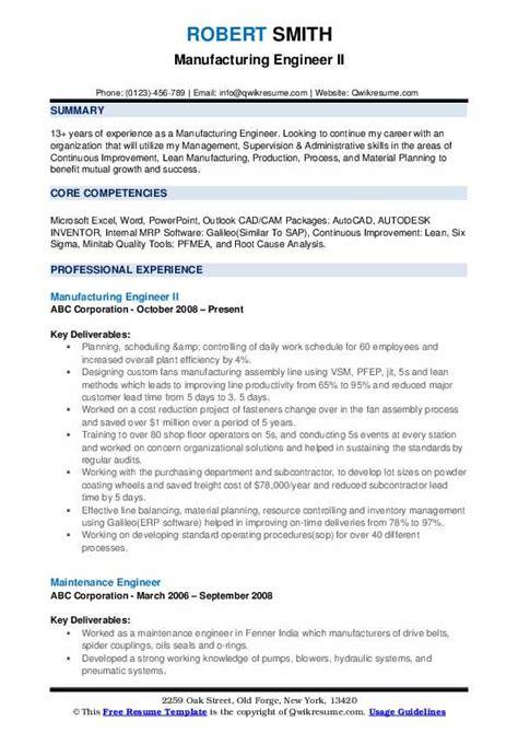manufacturing engineer resume samples qwikresume