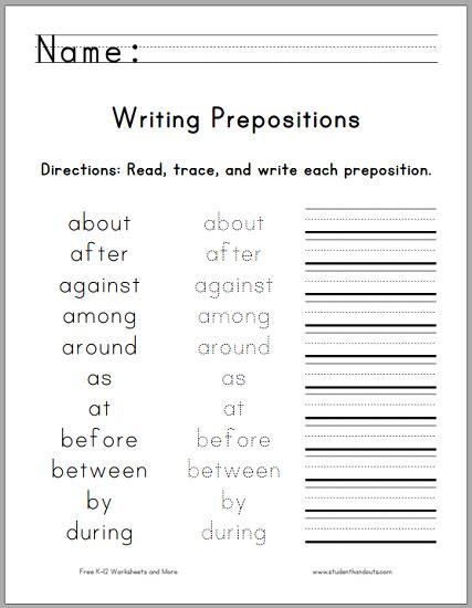 writing  top  prepositions  printable worksheet