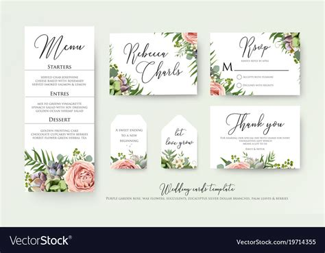 Wedding floral invite thank you rsvp label cards Vector Image