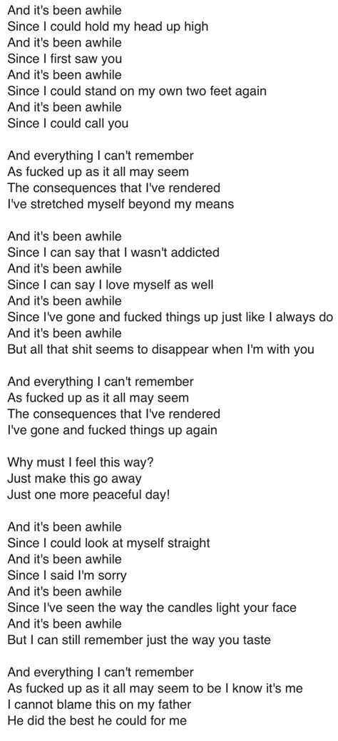staindits  awhile great song lyrics staind