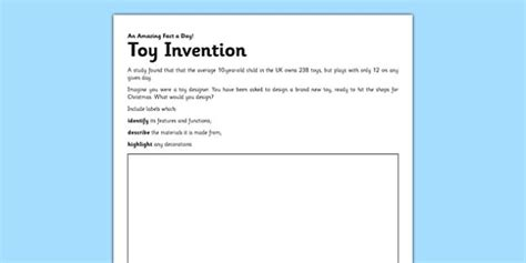 Toy Invention Worksheet  Activity Sheet  Design A Toy, Inventor, Toy