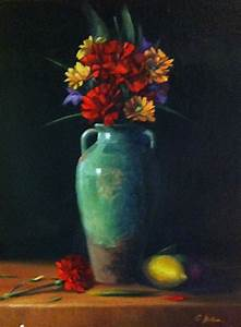 A Floral Still Life Painting with an Old Vase