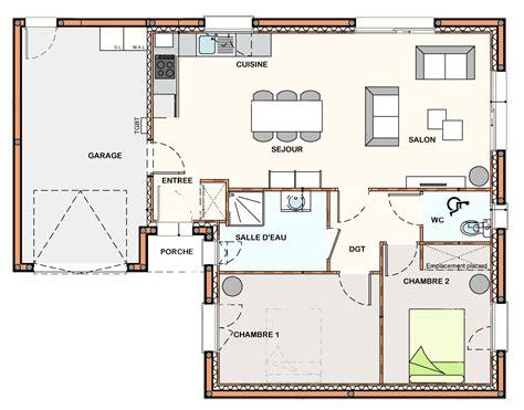 plan de maison avec cuisine ouverte plan maison en l avec garage maison moderne 12102d r1 sur sous sol total en garage 102 m