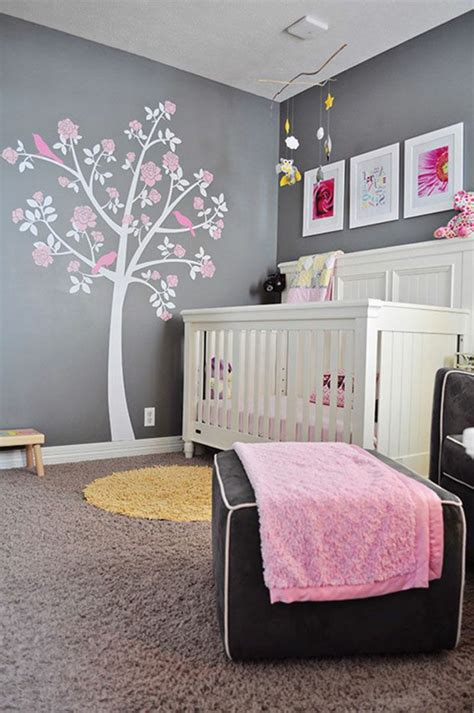 chambre de bébé fille photo stickers arbre blanc et images