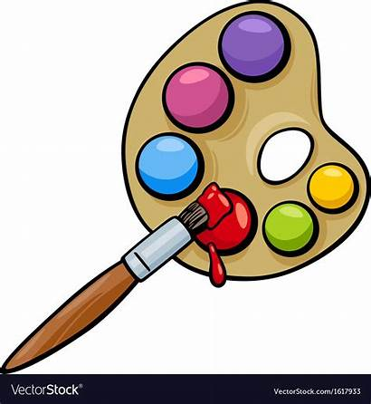 Brush Cartoon Palette Clip Clipart Vector Drawing