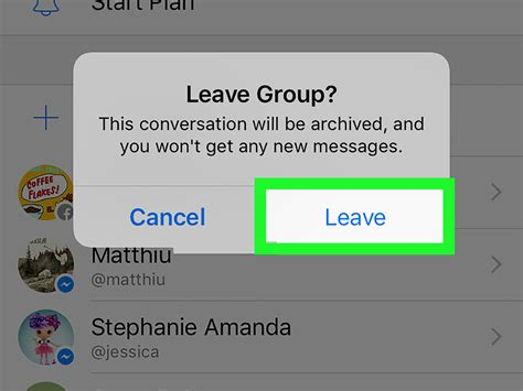 messenger chat leave ipad iphone