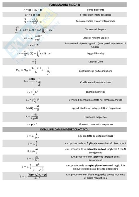 dispense di fisica generale formulario elettromagnetismo appunti di fisica generale