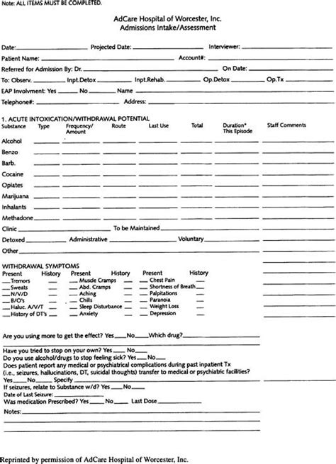 image result  drug rehab intake assessment forms