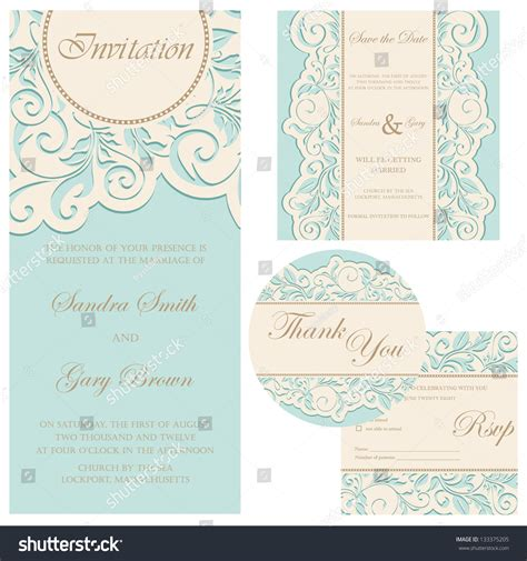 Set Wedding Cards Invitation Thank You Stock Vector