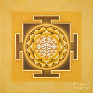 Golden Sri Yantra - The Original Painting by Piitaa
