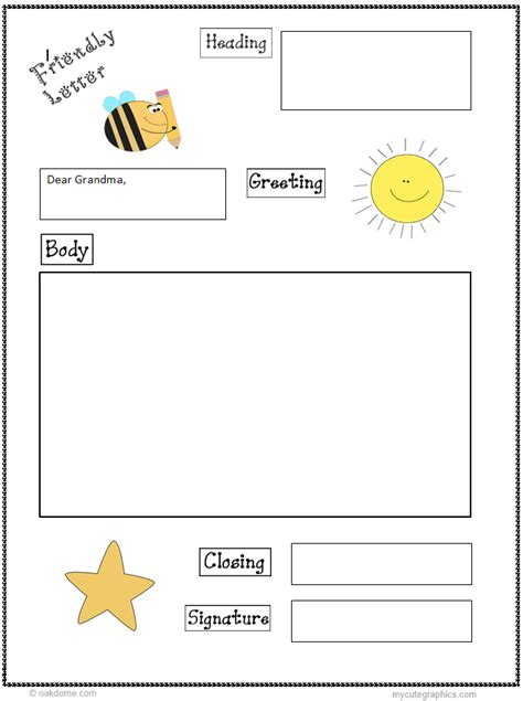 friendly letter graphic organizer st grade writing