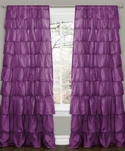 purple ruffle curtain panel