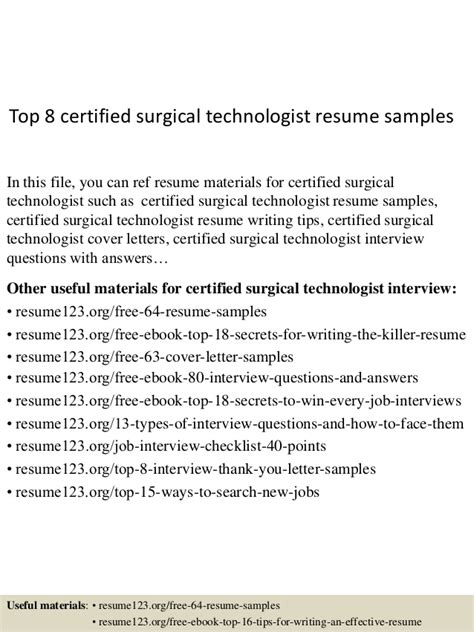 Surgical Resume by Top 8 Certified Surgical Technologist Resume Sles