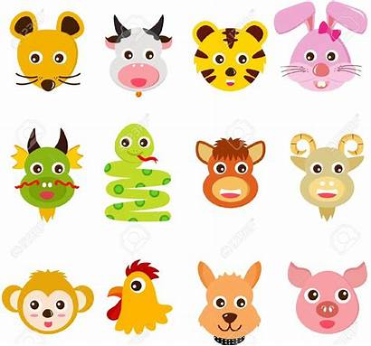 Zodiac Chinese Animals Clipart Signs Illustration Twelve