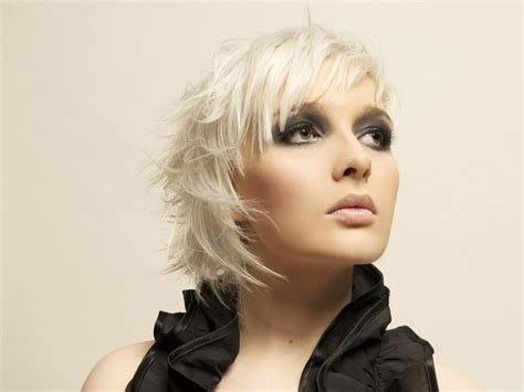short light  feathery haircut  platinum blonde hair