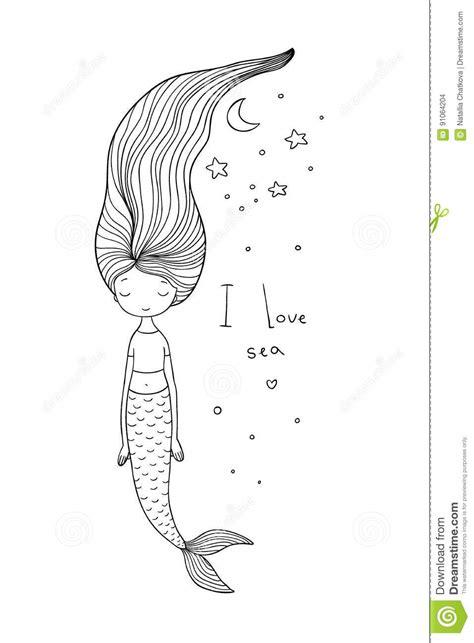 Beautiful Cute Cartoon Mermaid With Long Hair. Siren. Sea Theme. Stock Vector - Illustration of