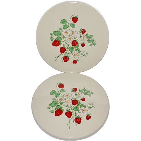 "Set of 2 Porcelain Enamel Strawberry Field 10"" Stove Burner Covers SOLD on Ruby Lane"
