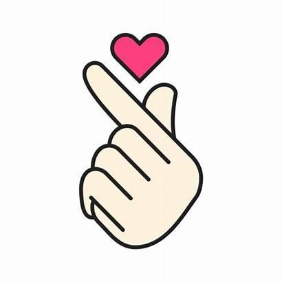 Korean Heart Vector Finger Symbol Hand Gesture