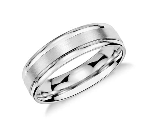 wedding rings men brushed inlay wedding ring in platinum 6mm blue nile 1049